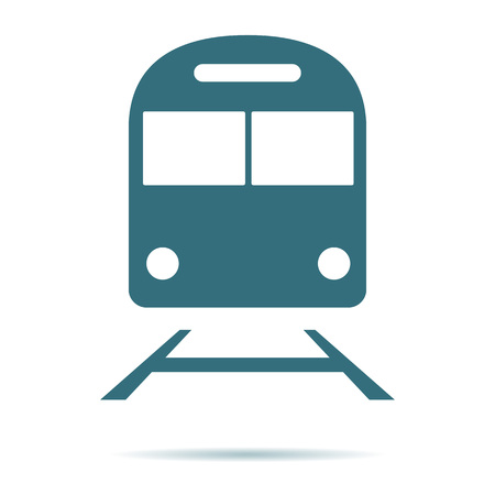 Train icon. Flat metro symbol isolated on white background. Trendy internet concept. Modern underground sign for web site button, mobile app, ui design. Logo illustration. Ilustracja