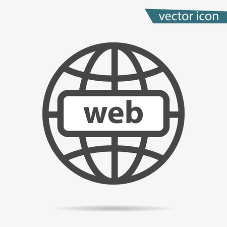Gray address http icon isolated. Modern simple flat globe sign. Business internet concept. Trendy social vector network www symbol for web site design or button to mobile app. Logo illustration. Illustration