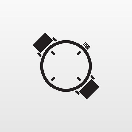 Watch icon isolated. Modern simple flat hand clock sign. Business, internet concept. Trendy mono vector time symbol for website design, web button, mobile app. Logo illustration.