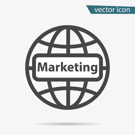 Gray Marketing icon isolated on background. Modern flat pictogram, business, technology, internet concept. Trendy Simple vector symbol for web site design or button to mobile app. Logo illustration. Иллюстрация