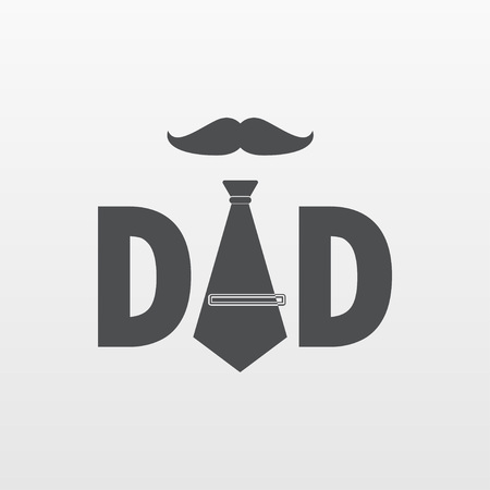 Flat DAD icon isolated. logo illustration. vector tie and mustache icon.