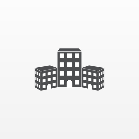 Gray building icon isolated on background. Modern flat pictogram, business, marketing, internet concept. Trendy Simple vector symbol for web site design or button to mobile app. Logo illustration. Illustration