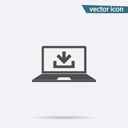 Download icon vector. Flat downgrade symbol isolated on white background. Trendy internet concept. Modern sign for web site button, mobile app, ui design. Logo illustration. Stock Vector - 105594563
