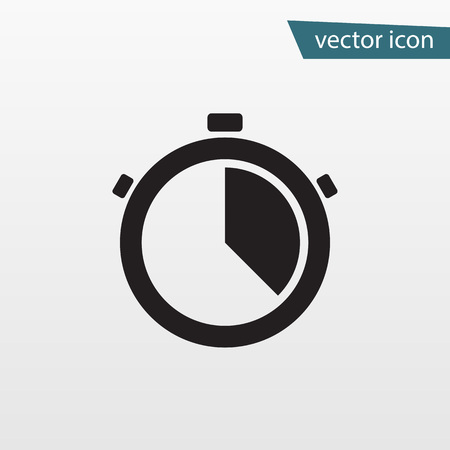 Gray accurate time icon. Modern simple flat stop watch sign. Business, internet concept. Trendy clock, vector stopwatch symbol for website design, web timer button, mobile app. Logo illustration. Illustration