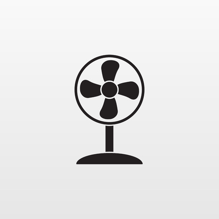 Gray fan icon isolated background. Modern simple flat ventilator, blower, propeller sign. Internet concept. Trendy technology vector symbol for web site design button to mobile app. Logo illustration. Ilustracja