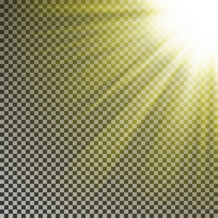 Sun ray light on top rigth corner. Transparent glow yellow sunlight effect isolated on checkered background. Realistic bright sun ray light pattern. Shine texture design. Editable vector illustration.