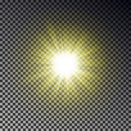 Sun ray light isolated on checkered background. Transparent glow yellow sunlight sky effect. Realistic bright sun ray light pattern. Shine texture design. Editable vector illustration. 向量圖像