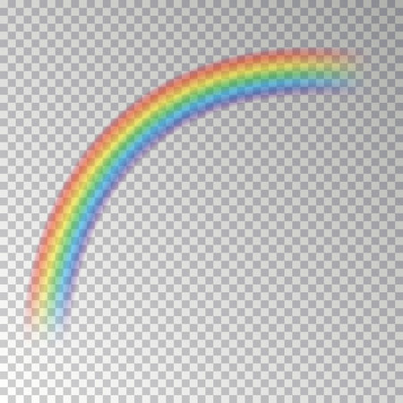 Rainbow arc isolated on checkered background. Transparent magic rainbow decoration. Realistic forecast texture design. Editable vector illustration.