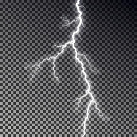 Lightning bolt isolated on dark checkered background. Transparent thunderbolt flah effect. Realistic lightning decoration pattern. Electric light on sky texture design. Editable vector illustration. 版權商用圖片 - 112342183