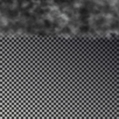 Dark cloud on top isolated on checkered background. Transparent black smoke border. Realistic storm cloud, texture design. Editable vector illustration. 版權商用圖片 - 112342186