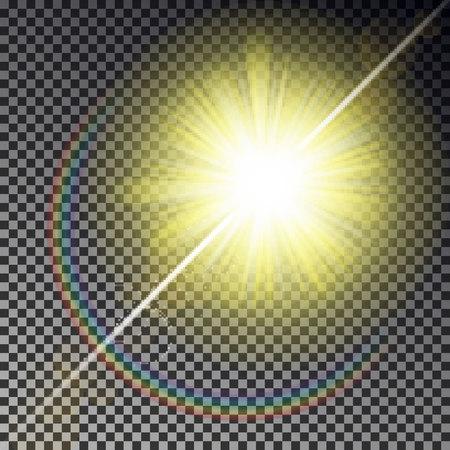 Sun ray light isolated on checkered background. Transparent glow yellow sunlight sky effect. Realistic bright sun ray light pattern. Shine texture design. Editable vector illustration. 版權商用圖片 - 112342187
