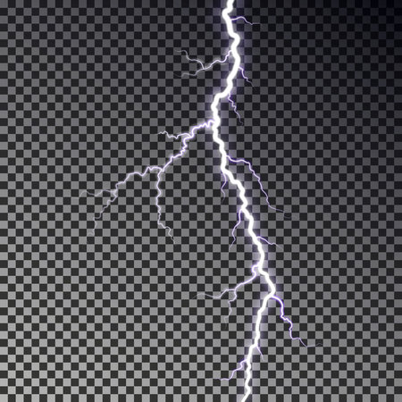 Lightning bolt isolated on dark checkered background. Transparent thunderbolt flah effect. Realistic lightning decoration pattern. Electric light on sky texture design. Editable vector illustration. Vectores