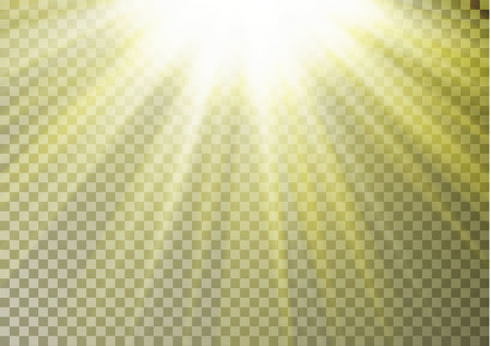 Sun ray light on top isolated on checkered background. Transparent glow yellow sunlight effect. Realistic bright sun ray light pattern. Shine texture design. Editable vector illustration. Çizim