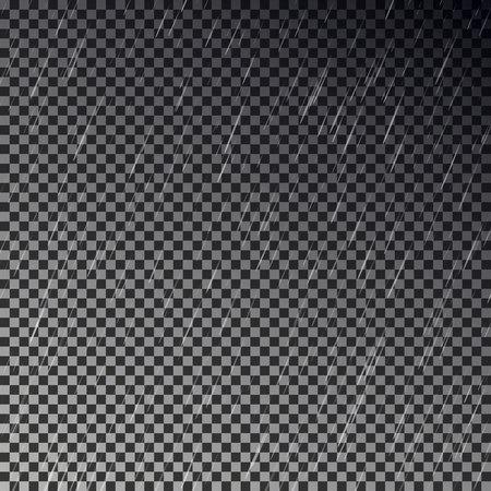 Dark raining sky isolated on checkered background. Transparent rain effect. Realistic storm pattern, rainy texture design. Editable vector illustration.