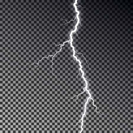 Lightning bolt isolated on dark checkered background. Transparent thunderbolt flah effect. Realistic lightning decoration pattern. Electric light on sky texture design. Editable vector illustration. 版權商用圖片 - 112342195