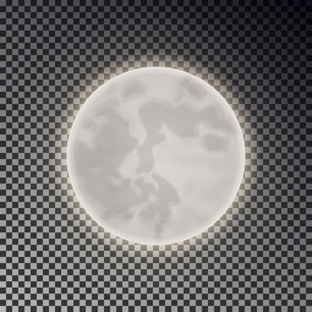 Full white moon isolated. Dark night sky background. Closeup moon light transparent effect. Glow moonlight at dark space. Luna vector illustration.