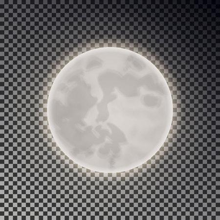 Voller weißer Mond isoliert. Dunkler Nachthimmelhintergrund. Nahaufnahme Mondlicht transparenter Effekt. Glühen Sie Mondlicht im dunklen Raum. Luna Vektor-Illustration.