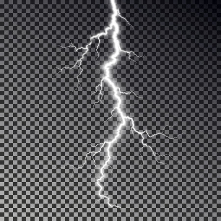 Lightning bolt isolated on dark checkered background. Transparent thunderbolt flah effect. Realistic lightning decoration pattern. Electric light on sky texture design. Editable vector illustration. 矢量图像