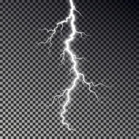 Lightning bolt isolated on dark checkered background. Transparent thunderbolt flah effect. Realistic lightning decoration pattern. Electric light on sky texture design. Editable vector illustration. 向量圖像