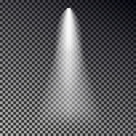 Stage light ray vector. Spotlight transparent effect isolated on dark background. Shine spot light design. Vector illustration. Ilustração