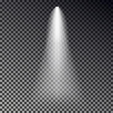 Vecteur de rayon lumineux de scène. Effet transparent de projecteur isolé sur fond sombre. Conception de spot lumineux. Illustration vectorielle.