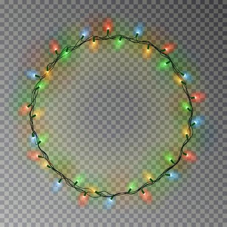 Decoraciones de guirnalda de guirnaldas. Anillo de luces de colores navideños con elemento de lámparas de brillo aislado. Cadena brillante para el diseño de tarjetas de felicitación navideñas. Ilustración vectorial