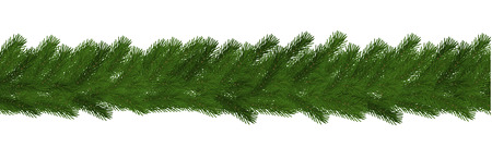 Green Christmas border of pine branch, seamless vector isolated on white background. Xmas garland decoration effect. Border of branch christmas tree. Vector illustration.