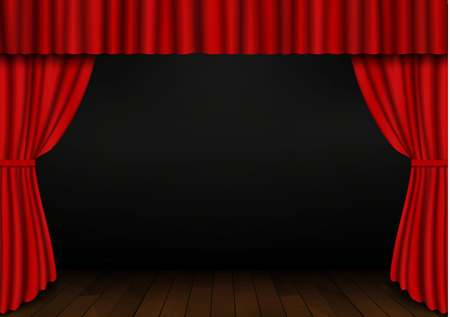 Red open curtain with wood floor in theater. Velvet fabric cinema curtain vector. Opened curtains decoration. Dark drama stage background. Vector illustration.