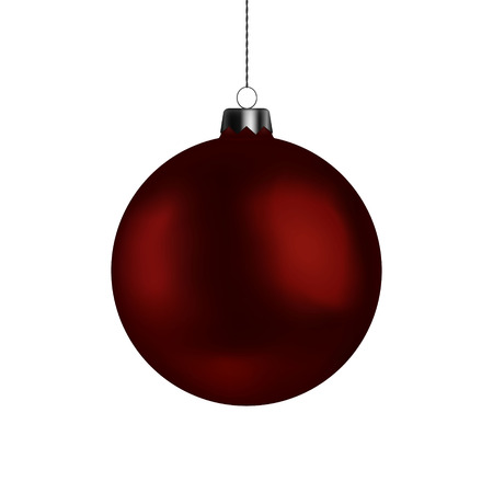 Christmas ball handing on string. Xmas vector bauble isolated on white background. New Year decoration element. Vector illustration. Illustration