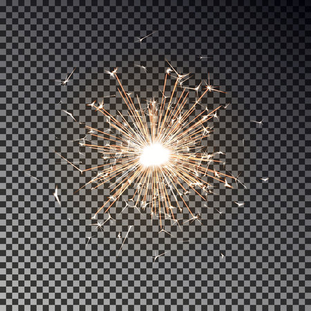 Bengal fire. New year sparkler candle isolated on transparent background. Realistic vector light effect. Party backdrop. Sparkler vector firework. Magic light. Winter Xmas decoration illustration. Imagens - 109932880