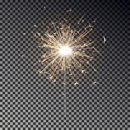 Fuego de Bengala. Vela de bengala de año nuevo aislada sobre fondo transparente. Efecto de luz vectorial realista. Telón de fondo de fiesta. Fuegos artificiales de vector de bengala. Luz mágica. Ilustración de decoración de Navidad de invierno.