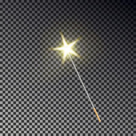 Zauberstabvektor. Transparenter Wunderstab mit leuchtend gelbem hellem Schwanz lokalisiert auf dunklem Hintergrund. Zauberer Zauberstab, Sternstaubeffekt. Magier Feenstab Lichter. Vektorillustration