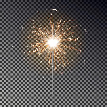 Bengal fire. New year sparkler candle isolated on transparent background. Realistic vector light effect. Party backdrop. Sparkler vector firework. Magic light. Winter Xmas decoration illustration.