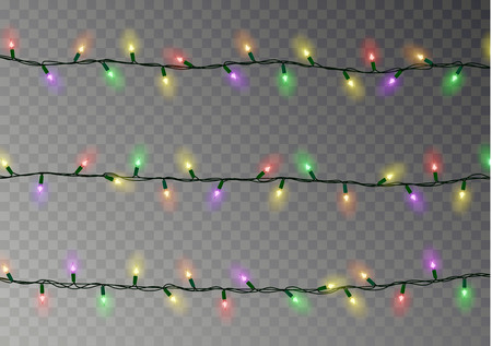 Christmas color lights string. Transparent effect decoration isolated on dark background. Realistic Christmas garland vector. Winter xmas glowing lights string. Vector banner illustration. Imagens - 109753072