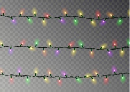 Kerstverlichting met kleurverlichting. Transparante effectdecoratie die op donkere achtergrond wordt geïsoleerd. Realistische kerstslinger vector. Winter xmas gloeiende lichten string. Vectorillustratie banner.