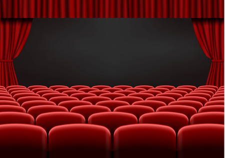 Red open curtain with seats in theater. Velvet fabric cinema curtain vector. Opened curtains and seats decoration. Dark drama stage background. Vector illustration.