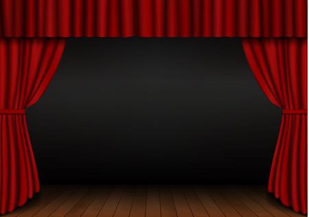 Cortina roja abierta con piso de madera en teatro. Vector de cortina de cine de tela de terciopelo. Decoración de cortinas abiertas. Fondo de escenario de drama oscuro. Ilustración vectorial