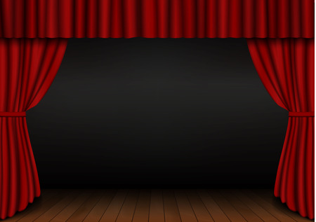 Red open curtain with wood floor in theater. Velvet fabric cinema curtain vector. Opened curtains decoration. Dark drama stage background. Vector illustration. Illustration