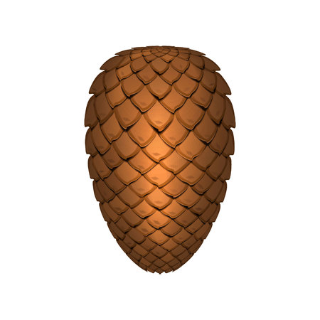 Pine cone isolated on white background. Decoration element. Vector illustration.