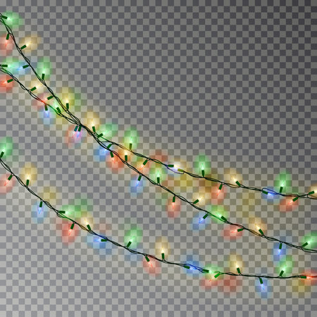Christmas color lights string. Transparent effect decoration isolated on dark background. Realistic Christmas garland vector. Winter xmas glowing lights string. Vector banner illustration.