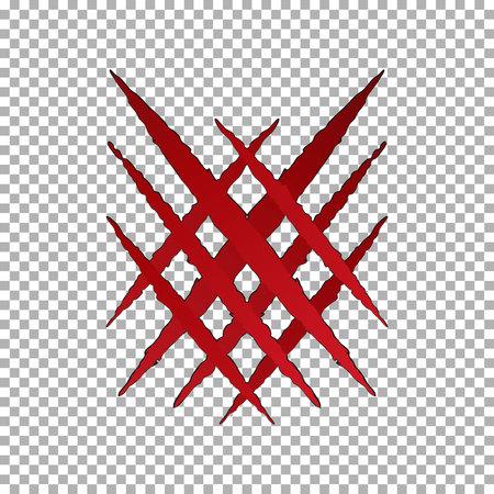 Griffe de déchirure de monstre, marque de croix Papier de pause Llion isolé sur fond transparent. Griffes rouges grattant le tigre animal. Illustration vectorielle.