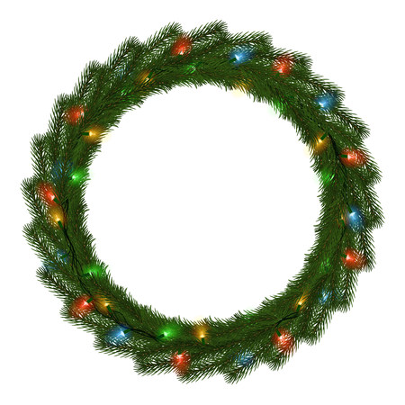 Green Christmas wreath with light string vector isolated on white background. Xmas round garland decoration effect. Ring frame of branch christmas tree and light. Vector illustration. 版權商用圖片 - 115907357