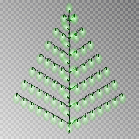 Christmas color tree of lights string. Transparent effect decoration isolated on background. Realistic Christmas garland vector. Glowing Winter Xmas tree lights string, banner illustration.