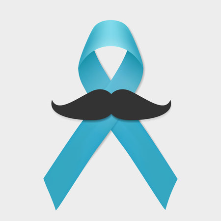 Prostate cancer blue ribbon and mustache isolated. November support men day vector. Prostate cancer awareness symbol. Vector ribbon illustration.