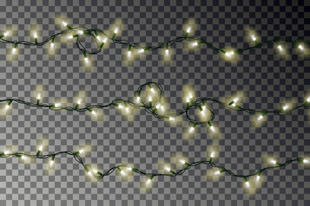 Christmas color lights string vector. Transparent colorful effect decoration isolated on dark background. Realistic Christmas garland vector. Winter xmas glowing lights string. Vector illustration. 版權商用圖片 - 115907363