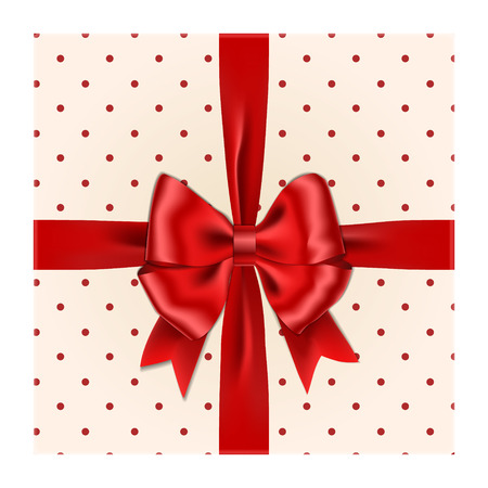 Red ribbon bow with gift box vector isolated on white background. Realistic ribbon bow top-down view. Xmas gift with bow decoration. Vector illustration. Stock Vector - 127727234
