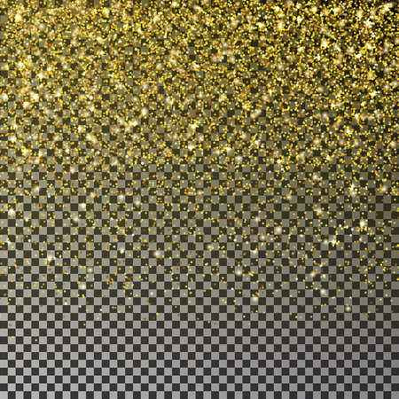 Gold glitter confetti vector. Falling golden star dust isolated on transparent background. Christmas texture. Vector illustration. Illustration