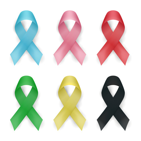 Color awareness ribbon vector set. Cancer ribbons isolated on white background. Vector illustration.