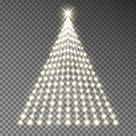 Christmas tree of lights string vector. Glowing Xmas tree garland isolated. Vector illustration. Vettoriali