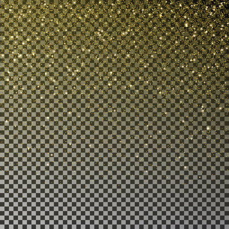 Gold glitter confetti vector. Falling golden star dust isolated on transparent background. Christmas texture. Vector illustration. Vettoriali